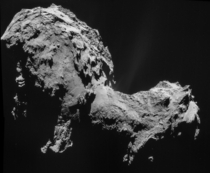 Four-image NAVCAM mosaic of Comet PChuryumov-Gerasimenko using images taken on  September  when Rosetta was  km from the comet Photo credit ESA  Rosetta  NAVCAM