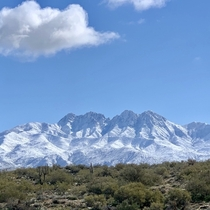 Four Peaks Covered in Snow Arizona