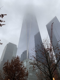 Freedom Tower One World Trade Center on a rainy day