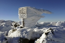 Freezing fog and strong winds on New Hampshires Mount Adams create rime ice that extends horizontally for several feet Robert F Bukaty