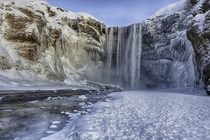 Freezing Skogafoss Iceland  Photo by Peter Negatsch xpost from rIsland
