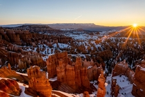 Freezing sunrise at sunset point  Bryce Canyon National Park