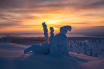 Freezing Sunrise Lapland Finland  Captured just before my camera stopped functioning due to the extreme cold  IG mpxmark