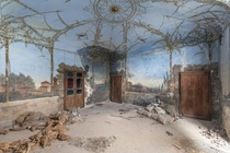 Fresco painting in an abandoned mansion in Europe photographed by Romain Veillon