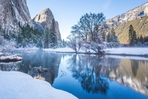 Fresh snow along the Merced River - Yosemite CA