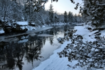 Fresh snow and early morning on the Kettle River Sandstone MN