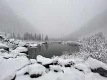 Fresh snow falls on Heather Lake - Mount Baker National Forest Verlot Washington