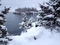 Fresh snow on Ellingson Island Split Rock Lighthouse State Park on Lake Superior MN