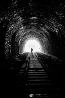 Friend of mine in old railway tunnel Paris petite ceinture