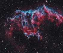 Frightening forms and scary faces are a mark of the Halloween season They also haunt this cosmic close-up of the eastern Veil Nebula The Veil Nebula itself is a large supernova remnant the expanding debris cloud from the death explosion of a massive star