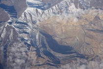 From a flight over the Bingham Canyon Open Pit Copper Mine Utah