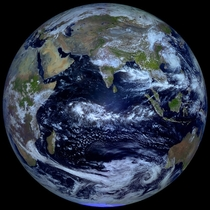 From a geostationary orbit  kilometers above the equator Russian meteorological satellite Elektro-L takes high-res images of our planet every  minutes But only twice a year during an Equinox can it capture an image like this showing an entire hemisphere b