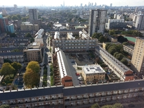 From council estates to skyscrapers - looking west from Balfron Tower in Poplar London