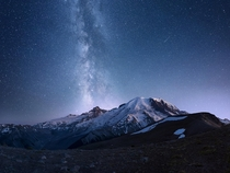 From Dust - Mount Rainier and Milky Way