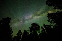 From my camping trip this weekend The emerald green color comes from Oxygen and Nitrogen in the upper atmosphere combining to make Laughing Gas AKA Airglow