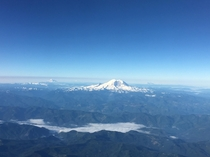 From my  window at k ft Mt Rainier Washington State - flanked by Mt St Helens in the right and Mt Hood on the left