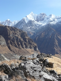From South Annapurna facing Mt Fishtail - Nepal X