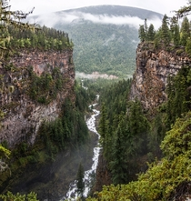 From the top of a water fall at Wells Gray Provincial Park British Columbia Canada