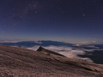 From the top of Mount Kinabalu before dawn Borneo