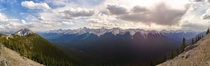 From the top of Sulphur Mountain Banff Canada