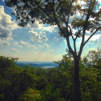From the top of Turkey Mountain preserve in Yorktown Heights NY overlooking the New Croton Reservoir  taken a few months ago