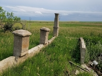 Front Entrance Foundation of Home on Overgrown Farmstead Southern S Dakota