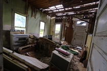 Front room of abandoned home in Smiley TX
