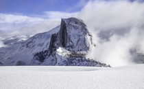 Frosty Half Dome from Glacier Point after a miserable night in a tent during a blizzard
