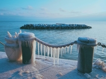 Frosty morning on Fargo Beach in Chicago Illinois