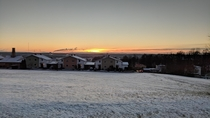 Frosty sunset over Vimmerby Sweden