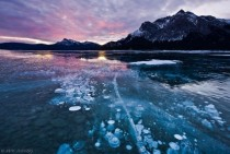 Frozen air bubbles at Abraham LakeAlberta Canada  - Photo by Mac Danzig