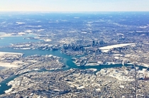 Frozen Boston on approach to Logan