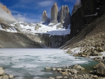 Frozen Lake at Mirador las Torres Torres Del Paine Chile