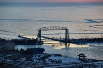 Frozen Lake Superior and the Duluth Aerial Lift Bridge Duluth MN