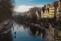 Frozen Neckar River in Tuebingen Germany