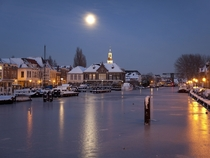 Frozen Rijn River in Leiden Netherlands