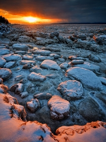 Frozen Saint Lawrence River sunset
