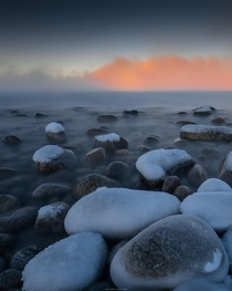 Frozen stones of Barents Sea Kola Peninsula Russia