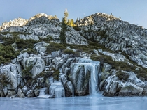 Frozen Waterfall at the shore of Big Bear Lake in the Trinity Alps Wilderness