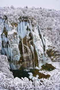 Frozen wonderland Plitvice lakes in Croatia  years ago on a new years day