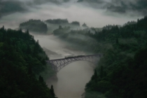 Fukushima bridge in the fog XPost rFoggyPics