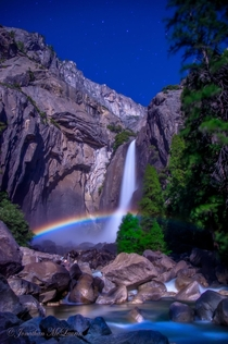 Full Moon - a moonbow lunar rainbow cast by moonlight reflected in the Yosemite Falls CA  photo by Jonathan McLaurin