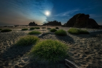 Full moon on a warm summer night at Olympic National Park along the Northwestern coast of Washington State OC
