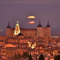 Full moon over Toledo Spain