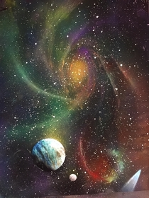 Fun with my cans Painting Galaxies Universe Space Planets Do You like the final result
