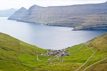 Funningur a town on the northwest coast of Eysturoy Faroe Islands