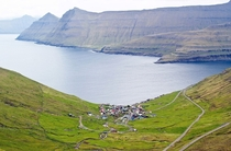 Funningur village on the northwest coast of Eysturoy in the Faroe Islands
