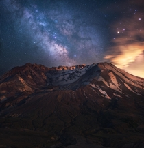 Funny how we gravitate towards the things that cause the most destruction in our lives The Milky Way erupting over Mt St Helens Washington