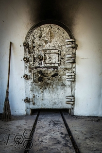 Furnace door in an abandoned Thai crematorium
