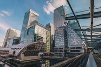 Futuristic shot of Canary Wharf London United Kingdom